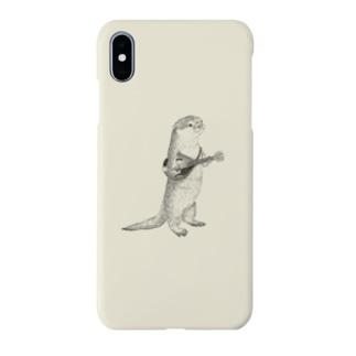 マンドリンを弾くカワウソ(アイボリー) Smartphone cases