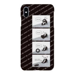 タイヤ大好きパンダ(4コマ黒) Smartphone cases
