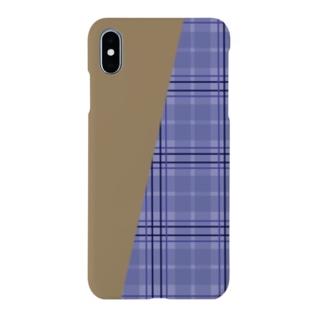 TinyMiry(タイニーミリー)のチェック×無地 切り返し(ラベンダーブルー/キャメル) Smartphone cases