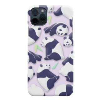 やる気のないパンダ さわやかピンク 笹あり Smartphone cases