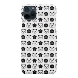 花とパンダ《モノトーン》 Smartphone cases