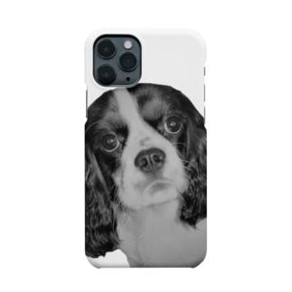 リコのキャバリアちゃん 白黒 Smartphone cases