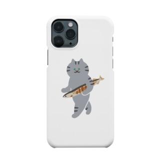 盗んだ焼きサンマと歩き出す猫 Smartphone cases