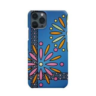 和柄ステンドグラス風(花火×青海波) Smartphone cases