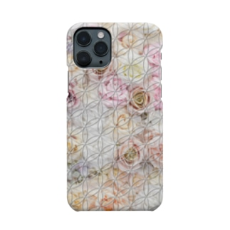 フラワーオブライフ バラ柄A Smartphone cases
