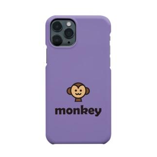 サル(パープル) Smartphone cases