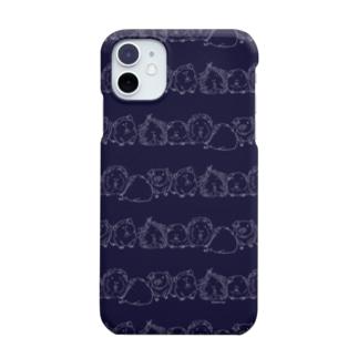 もるボーダー(藍) Smartphone cases