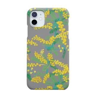 ミモザ グレー Smartphone cases