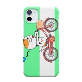 ぬにょ猫。ごきげん自転車 Smartphone cases