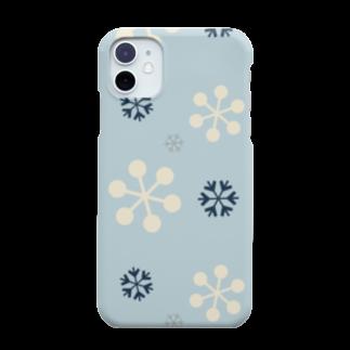 Fummy Goodsの北欧柄 雪の結晶 水色 Smartphone cases