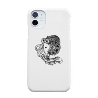 花と横向きの女の子 Smartphone cases