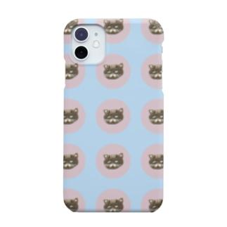 muu_uumの刺繍のねこさんドット(みずいろ) Smartphone cases