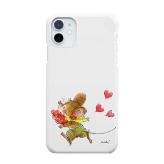 可愛いネズミちゃん ハート Smartphone cases