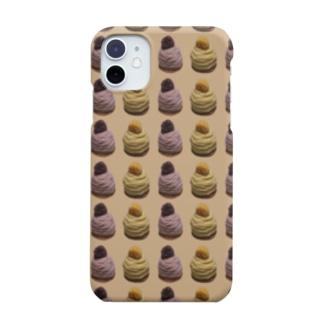 毛糸のモンブラン パターン 茶 Smartphone cases