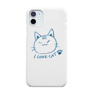 ネコ(万年筆風)ブルー Smartphone cases