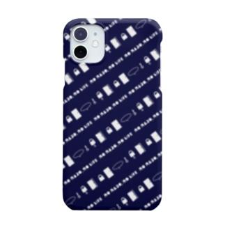 謎と宇宙好きの店の謎解き風柄スマホケース(ネイビー) Smartphone cases