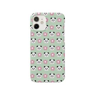花とパンダ《グリーン》 Smartphone cases