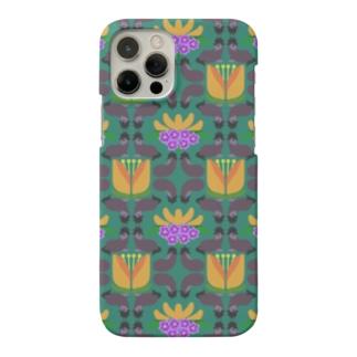 ウマとネコとナスとハナ(緑) Smartphone cases