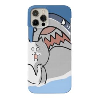 サメに遭遇した猫【背景あり】 Smartphone Case