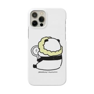 手鏡を見るパンダ Smartphone cases