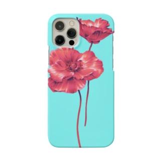 赤いケシの花のスマホケース Smartphone cases