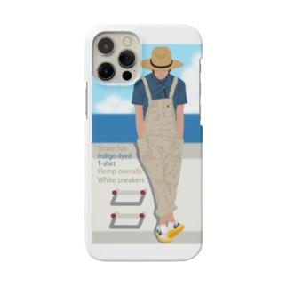 麦わら帽の青年と海 スマホ用 Smartphone cases