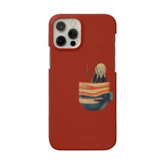 ポケットからの『叫び』 スマホケース (濃いレッド) Smartphone cases