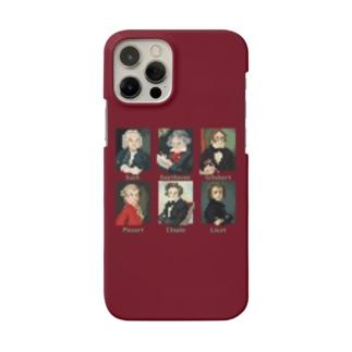 ドット 音楽室の肖像画 スマホケース (エンジ) Smartphone cases