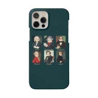 ドット 音楽室の肖像画 スマホケース (濃いグリーン) Smartphone cases