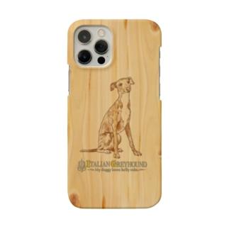 iPhone イタリアングレイハウンド 木目調 背面ケース Smartphone Case