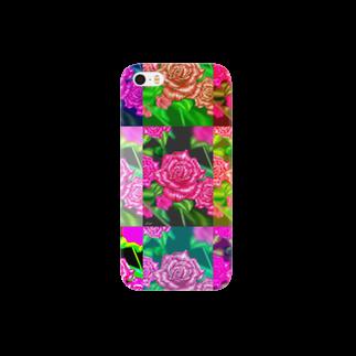 ボールペン画と可愛い動物の薔薇オリジナル スマートフォンケース
