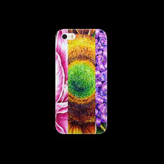 ボールペン画と可愛い動物の芍薬・向日葵・紫陽花 スマートフォンケース
