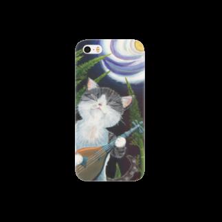 雪猫@LINEスタンプ発売中の月は琵琶の音に誘われて Smartphone cases