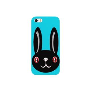 ウサギ black Smartphone cases