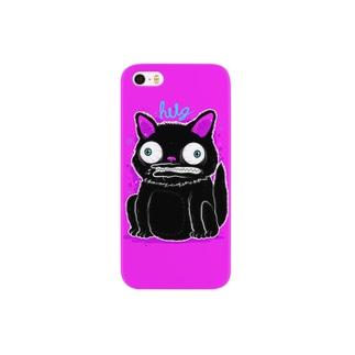 Black Cat Hot Pink スマートフォンケース
