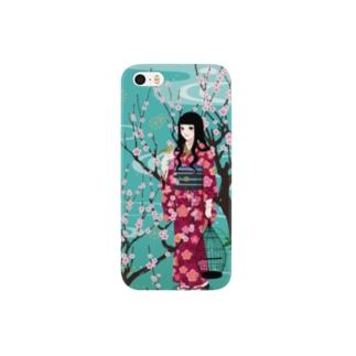 梅に鶯(グリーン) Smartphone cases