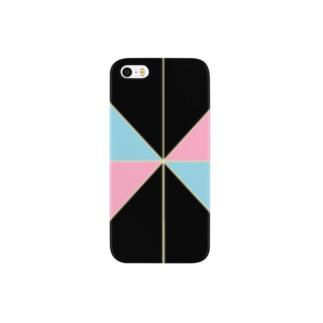 ピンク水色横 Smartphone cases