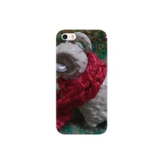 彼女が編んでくれたマフラーで、ほかほかハートの羊くん Smartphone cases