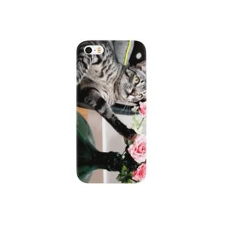 猫と花 Smartphone cases