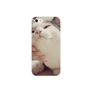 撫でられ猫 スマートフォンケース