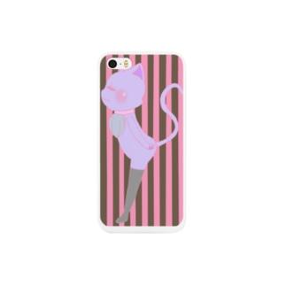 ストライプ猫ピンク Smartphone cases