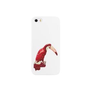 白い花柄の赤いオニオオハシ スマートフォンケース