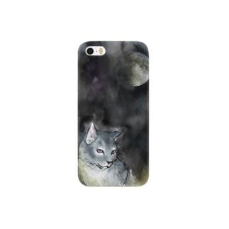 月と青猫のiphoneケース  Smartphone cases