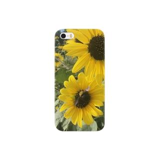 ミツバチとヒマワリ Smartphone cases