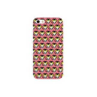 やぶねこドット(ピンクグレープフルーツ) Smartphone cases
