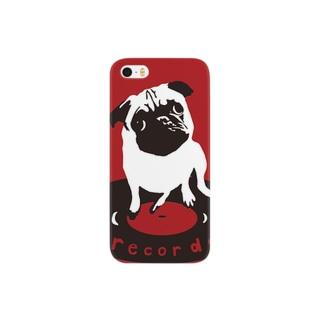 パグのパン粉社長どアップ(赤色) Smartphone cases