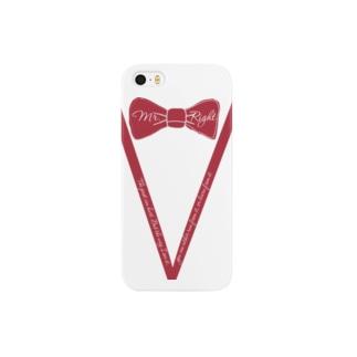 臙脂色蝶ネクタイVライン フォーマル風ファッション Smartphone cases