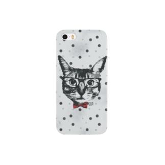 Nobigao めが猫ドット青 Smartphone cases
