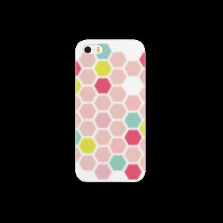 3pondSのpink honeycomb スマートフォンケース