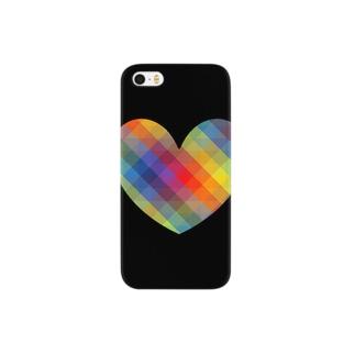 虹×ハート×虹(ブラック) Smartphone cases